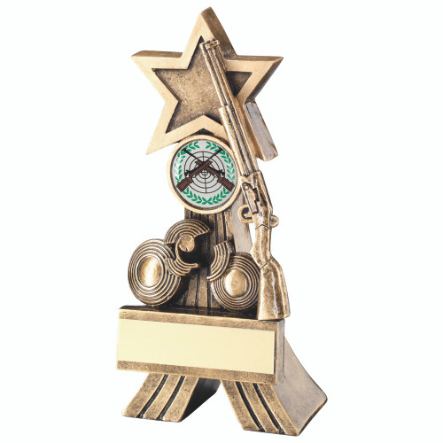 Resin shooting award with gun and targets beneath a gold star. Available with FREE engraving.