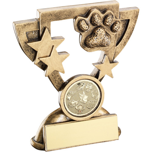 Dog Agility Pawprint cup star trophy. This award includes FREE personalised engraving.