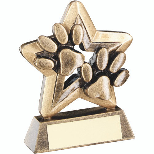 Mini gold dog agility pawprints award that includes FREE engraving.