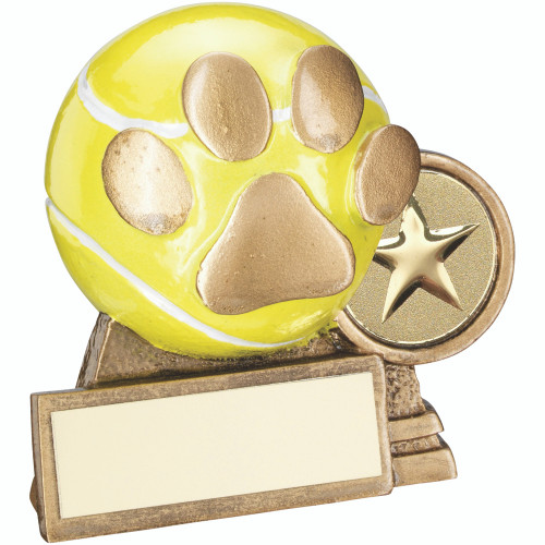 Dog Agility yellow ball and gold pawprint trophy that includes FREE personalised engraving.