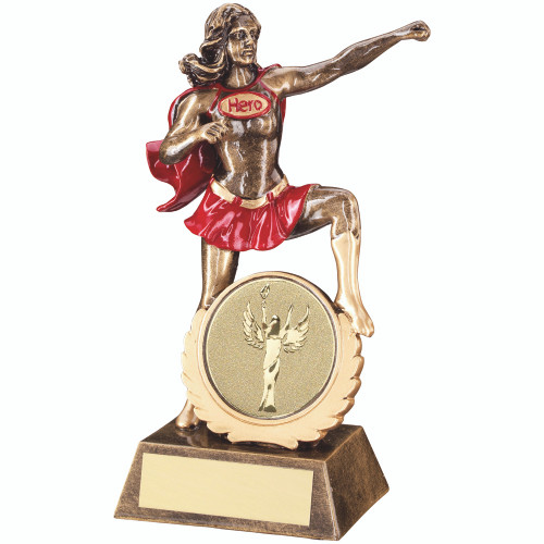 "Novelty sporting female HERO award, with 2"" centre and FREE engraving."