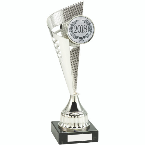 "Silver multisport half cone trophy cup with 2"" centre and FREE engraving."