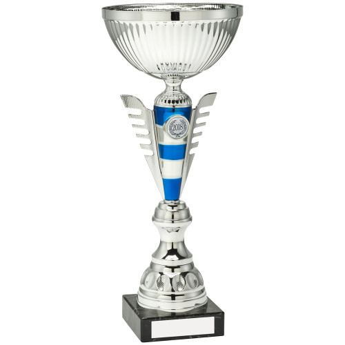 Silver & Blue stripe modern multisport cup with FREE personalised engraving and standard sport insert.
