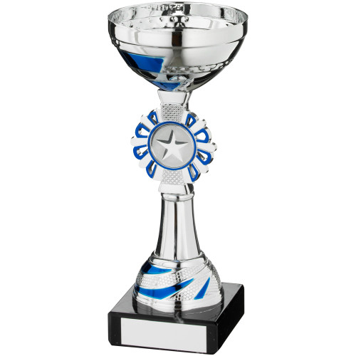Round wreath sport insert blue and silver multisport trophy cup available with FREE personalised engraving.