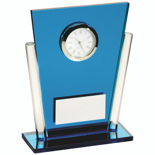 Blue glass clock. The perfect gift and available with FREE personalised engraving.