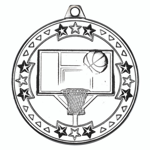 50mm Silver Basketball Medal Award