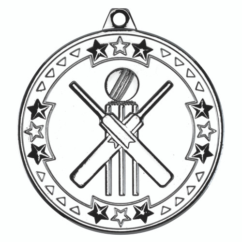 50mm Silver Cricket Medal Awards