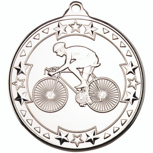 50mm Silver Cycling Medal Award