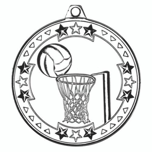 50mm Silver Netball Medal Award