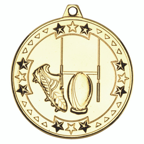 50mm Gold Rugby Medal Awards