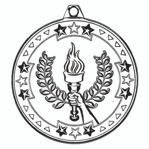 50mm Silver Victory Torch Medal Award