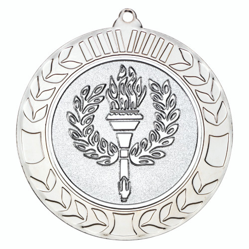 70mm Silver Wreath Flame & Torch Medal Award