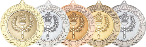 "Gold, Silver, Bronze, Antique Gold and Antique Silver 70mm Wreath Torch & Flame Medals with 2"" centres"