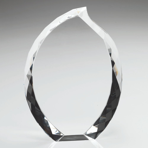 Beautiful teardrop shaped oval premium glass Award with optional customised engraving. LCG1