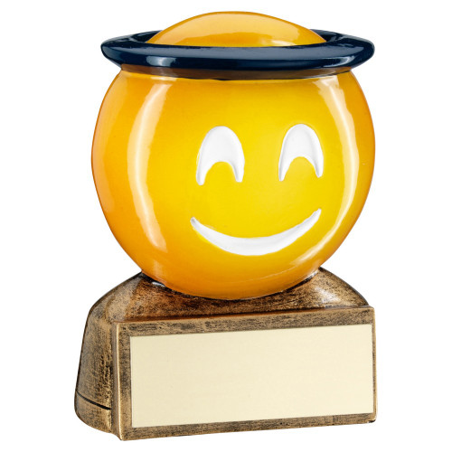 Smiley face Halo Emoji Award Trophy at a budget price from 1st Place 4 Trophies