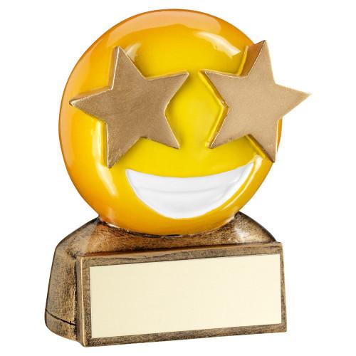 Smiley Face Gold Star Eyes Emoji Award. A great budget novelty trophy. RF954