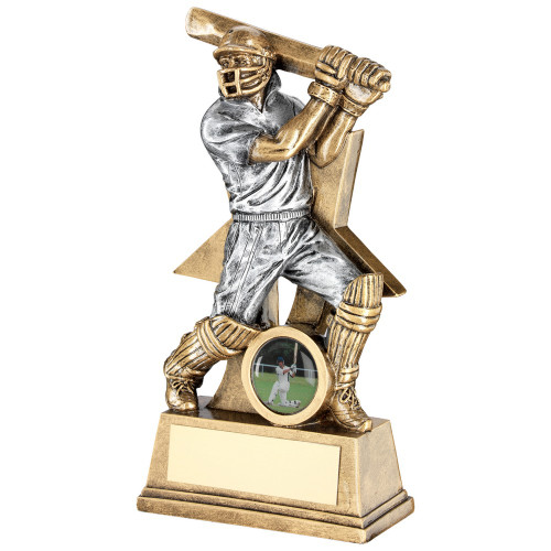 Fabulous cricket batsman star trophy available with FREE engraving from 1stPlace4Trophies