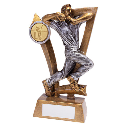 Superb cricket bowler trophy available in 2 affordable sizes