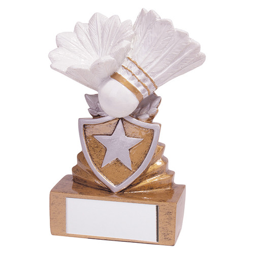 Shield Mini Badminton Award. Budget price and includes FREE engraving.