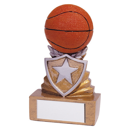 Shield Mini Basketball Award. Budget price and includes FREE engraving.