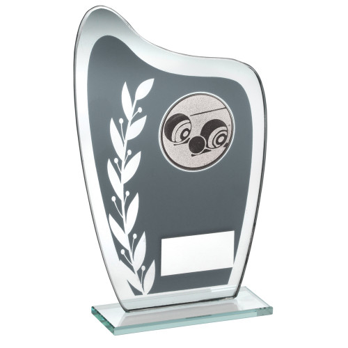 Curved glass Crown Green/Lawn Bowls award with laurel design and FREE Engraving.