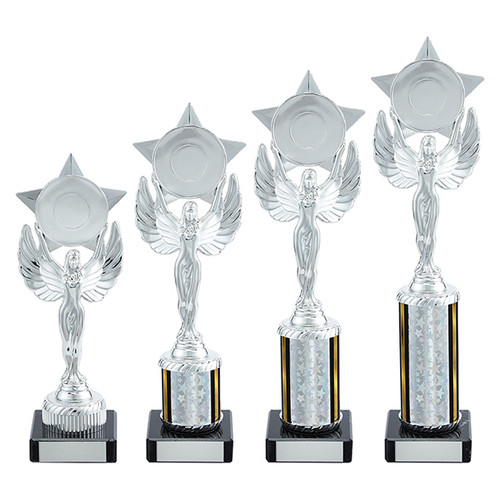 Beautiful silver-winged female unity trophy with FREE Engraving