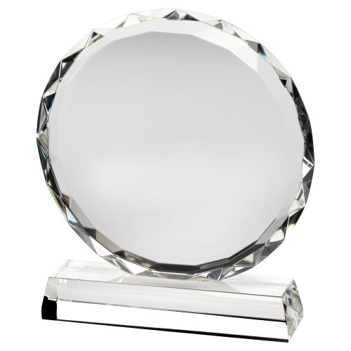 Beautiful circular premium glass with prism edge available at 1st Place 4 Trophies