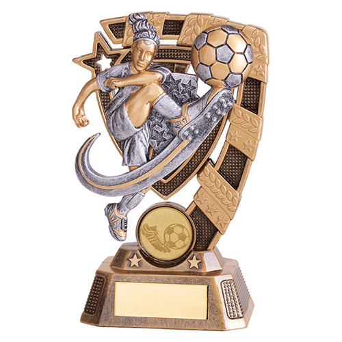 Euphoria Female Action Football trophy RF19067 with FREE Engraving