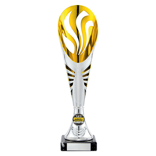 A stunning Supreme multisport laser cup in plastic available in 5 sizes with FREE engraving at 1stPlace4Trophies