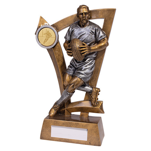 Superb Predator rugby player with ball trophy available in 4 affordable sizes