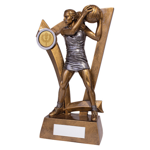 Superb Predator netball player with ball trophy available in 4 affordable sizes