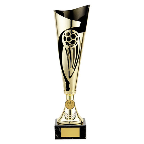 Champions gold and black laser football cup with FREE engraving tr19609