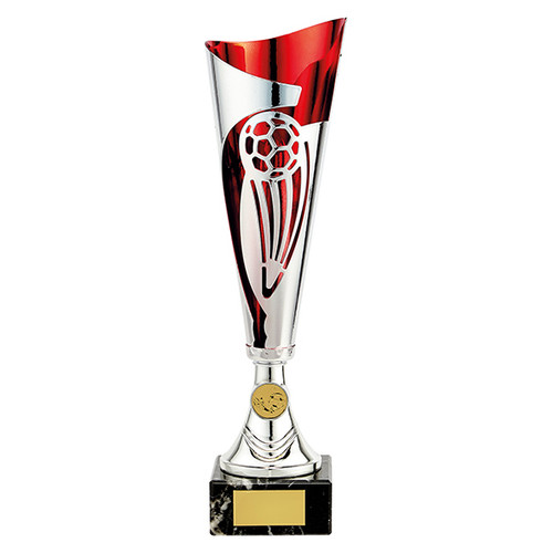 Champions silver and red laser football cup with FREE engraving tr19610
