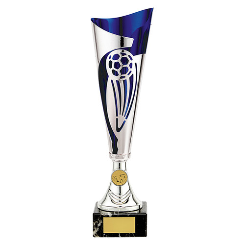 Champions silver and blue laser football cup with FREE engraving at 1st Place 4 Trophies