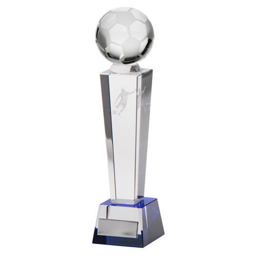 Legend crystal football trophy award with 3D laser footballer and football available with FREE engraving