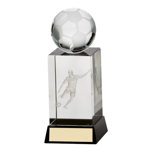 Stylish crystal glass 3D football trophy at 1stPlace4Trophies