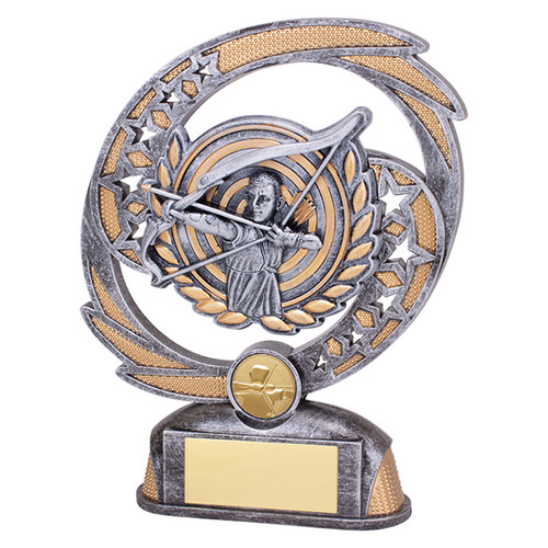 Sonic Boom Archery trophy available in 2 sizes at 1st Place 4 Trophies