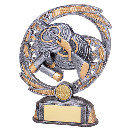 Sonic Boom Clay Pigeon Shooting trophy available in 2 sizes at 1st Place 4 Trophies
