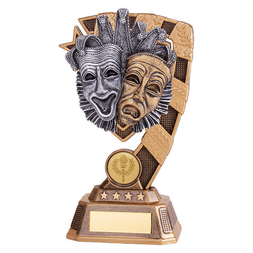 Beautiful detail on this Euphoria Drama Theatre Masks Trophy available in 4 sizes with FREE engraving