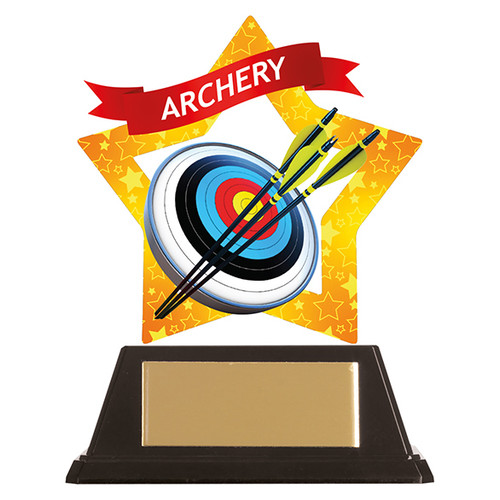Archery acrylic mini-star award at 1st Place 4 Trophies