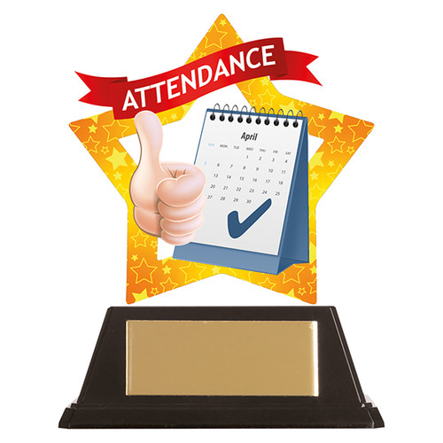 Attendance acrylic mini-star award at 1st Place 4 Trophies