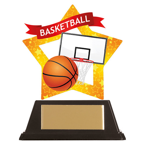 Basketball acrylic mini-star award at 1st Place 4 Trophies