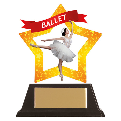 Ballet dance acrylic mini-star award at 1st Place 4 Trophies