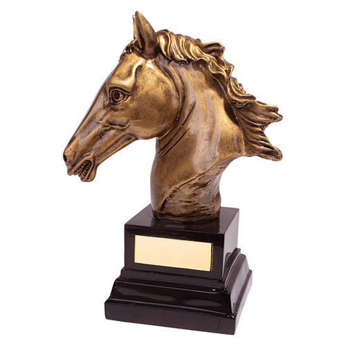 Belmont Deluxe detailed gold 3D horse head equestrian award