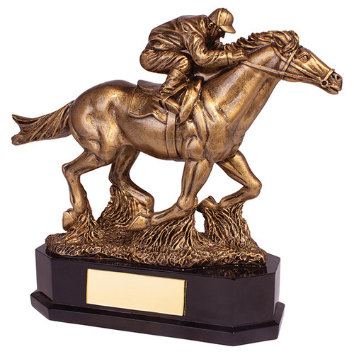 Aintree Deluxe detailed gold 3D horse and jockey equestrian award