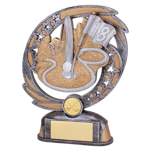Sonic Boom Golf hole in one trophy available in 2 sizes at 1st Place 4 Trophies