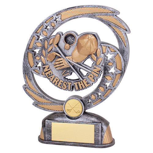 Sonic Boom Golf Nearest the Pin trophy available in 2 sizes at 1st Place 4 Trophies