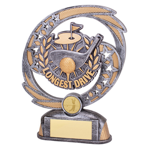 Sonic Boom Golf Longest Drive trophy available in 2 sizes at 1st Place 4 Trophies