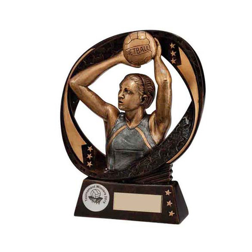 Typhoon Netball trophy in 3 sizes with FREE engraving