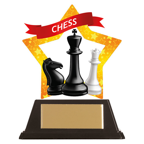 Chess acrylic mini-star award at 1st Place 4 Trophies FREE engraving